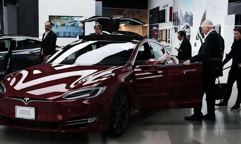 New Tesla cars at a showroom in Manhattan in June.