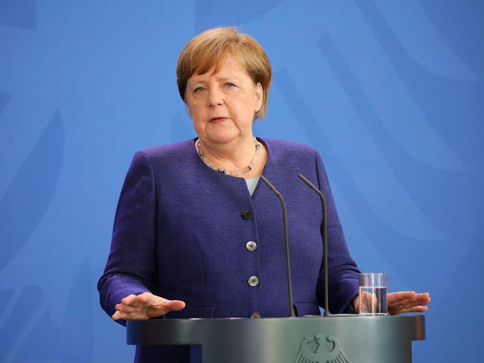 German Chancellor Angela Merkel holds a press conference at the Chancellery on May 20, 2020 in Berlin.