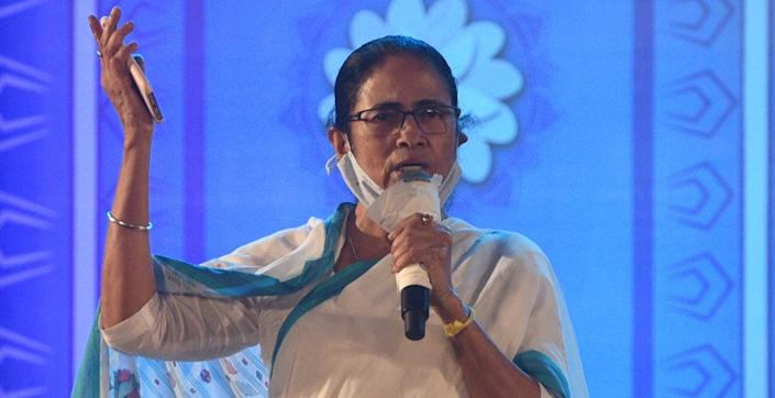 KOLKATA, INDIA - OCTOBER 12: Chief Minister of West Bengal and TMC Supremo Mamata Banerjee addresses the gathering after releasing party's mouthpiece 'Jago Bangla' festival issue at Nazrul Mancha on October 12, 2020 in Kolkata, India. (Photo by Samir Jana/Hindustan Times via Getty Images)