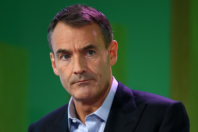 "BP CEO Bernard Looney speaks during an event in London on Feb. 12, where he declared the company's intentions to achieve ""net zero"" carbon emissions by 2050. (Photo: DANIEL LEAL-OLIVAS via Getty Images)"