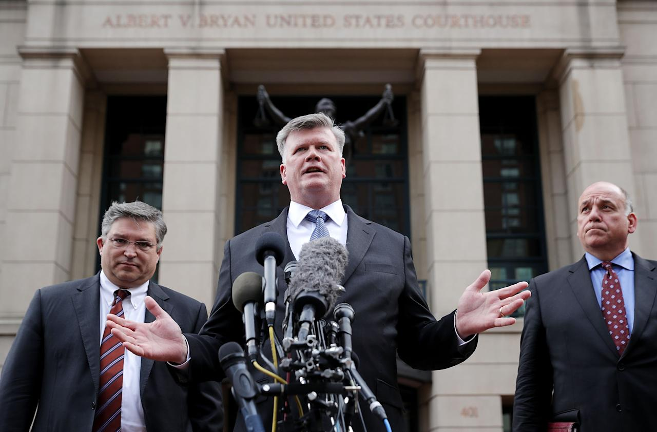<p>(L-R) Richard Westling, Kevin Downing and Thomas Zehnle, attorneys for former Trump campaign chairman Paul Manafort, talk to reporters outside the Albert V. Bryan U.S. Courthouse after the jury announced a verdict August 21, 2018 in Alexandria, Virginia. Manafort was found guilty on eight counts of bank and tax fraud as part of special counsel Robert Mueller's investigation into Russian interference in the 2016 presidential election. The jury was hung on 10 other counts. (Photo: Chip Somodevilla/Getty Images) </p>