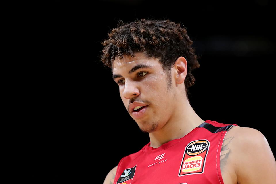 LaMelo Ball of the Hawks looks on during the round seven NBL match between the Sydney Kings and the Illawarra Hawks at Qudos Bank Arena on November 17, 2019 in Sydney, Australia.