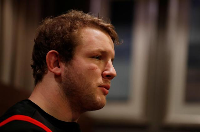 Rugby Union - England Press Conference - Royal Garden Hotel, London, Britain - February 13, 2018 England's Joe Launchbury during the press conference Action Images via Reuters/Peter Cziborra