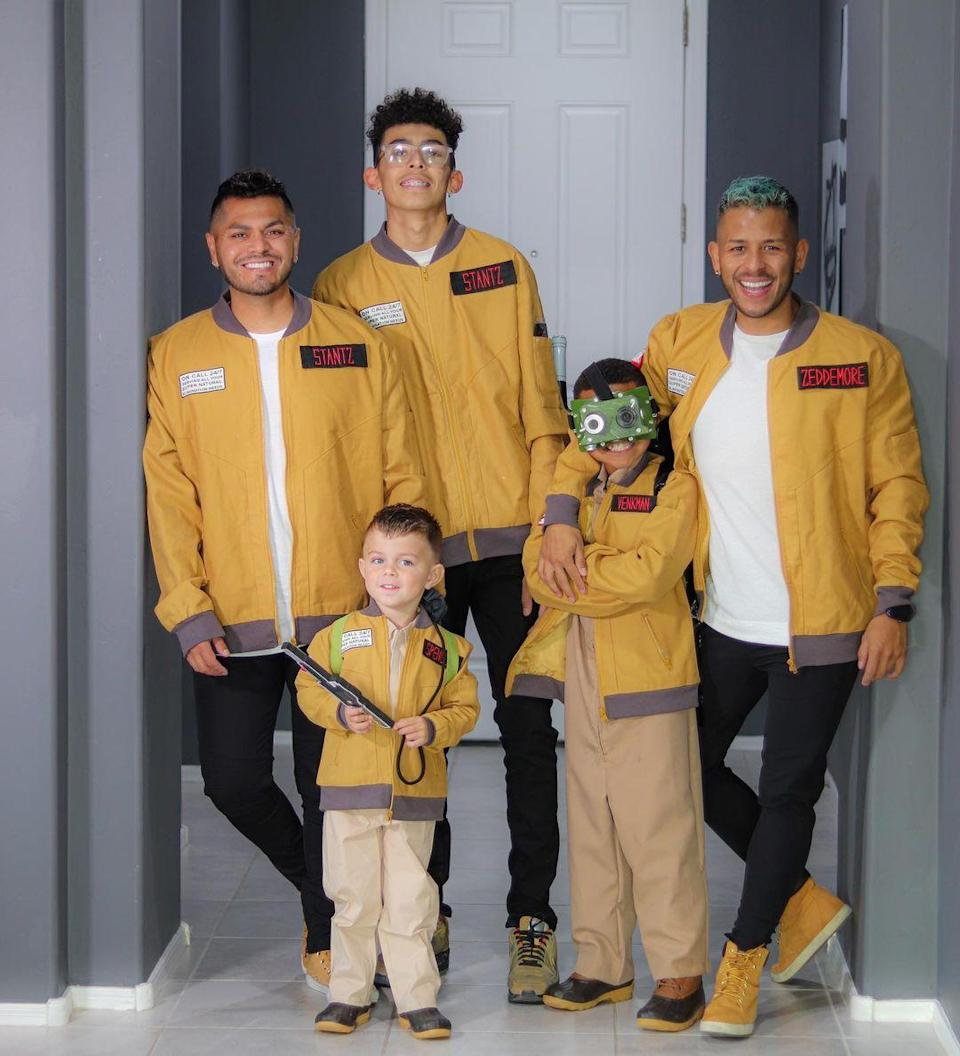 """<p>Who ya gonna call? No one in a panic, because this fun <a href=""""https://www.countryliving.com/diy-crafts/a28918599/movie-costume-ideas/"""" rel=""""nofollow noopener"""" target=""""_blank"""" data-ylk=""""slk:movie costume"""" class=""""link rapid-noclick-resp"""">movie costume</a> idea is easy to DIY, even at the last minute. </p><p><strong>See more at <a href=""""https://www.instagram.com/p/CHBrFQzBa86/"""" rel=""""nofollow noopener"""" target=""""_blank"""" data-ylk=""""slk:@arejay5"""" class=""""link rapid-noclick-resp"""">@arejay5</a>. </strong></p><p><a class=""""link rapid-noclick-resp"""" href=""""https://www.amazon.com/gp/product/B07M9TVZG7?pf_rd_r=PSB227E2KMBCTBJH6DYN&tag=syn-yahoo-20&ascsubtag=%5Bartid%7C10050.g.29074815%5Bsrc%7Cyahoo-us"""" rel=""""nofollow noopener"""" target=""""_blank"""" data-ylk=""""slk:SHOP BOMBER JACKETS"""">SHOP BOMBER JACKETS</a><br></p>"""