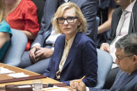 United Nations High Commissioner for Refugees Goodwill Ambassador Cate Blanchett speaks during a Security Council meeting on the situation in Myanmar, Tuesday, Aug. 28, 2018 at United Nations headquarters. (AP Photo/Mary Altaffer)