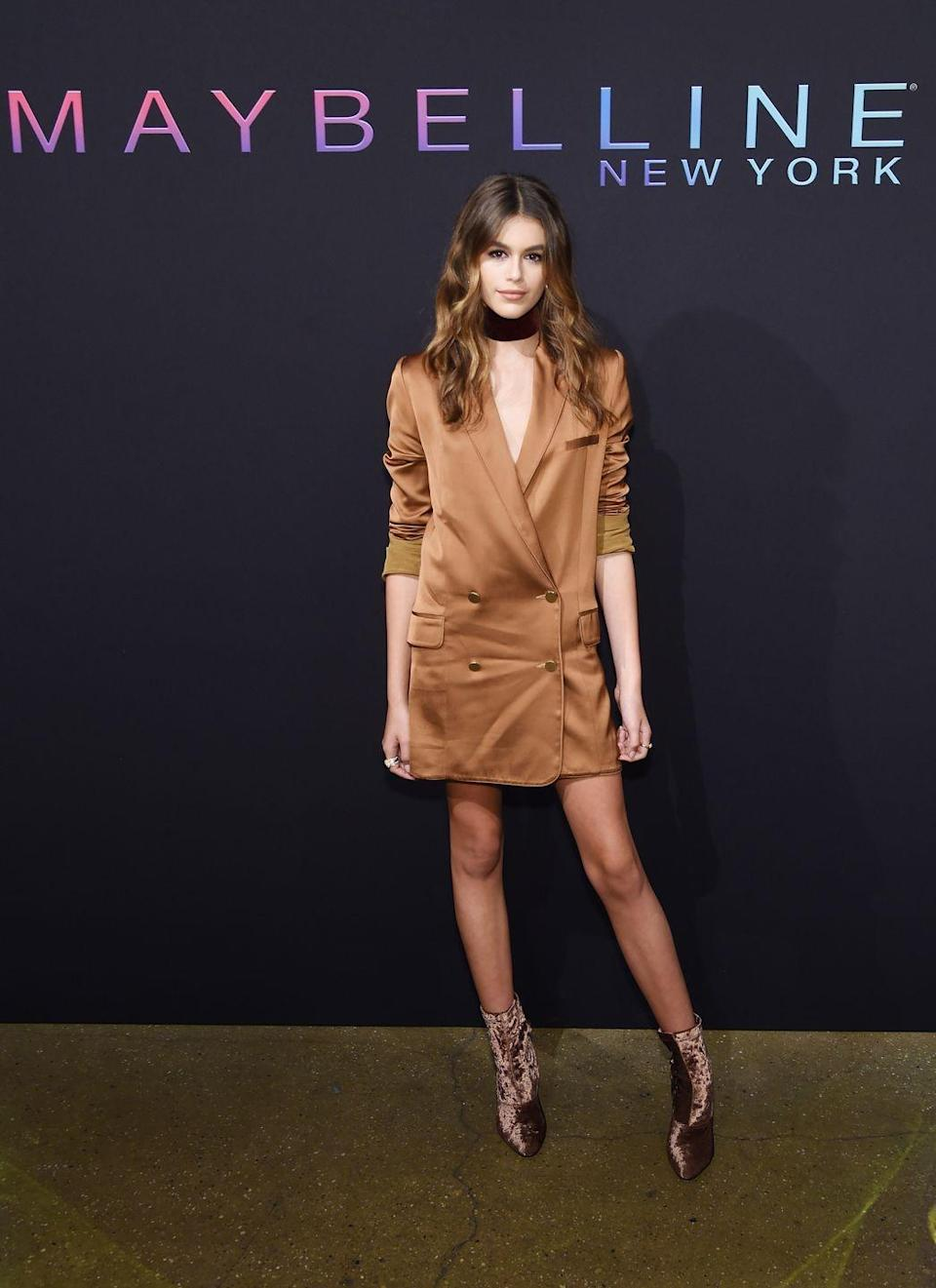 <p>The star showed off her toned physique in a caramel-coloured longline blazer and matching velvet booties to the Maybelline NYFW Kick-Off Party</p>