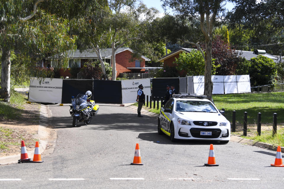Police are seen at a crime scene in the suburb of Page in Canberra. Source: AAP