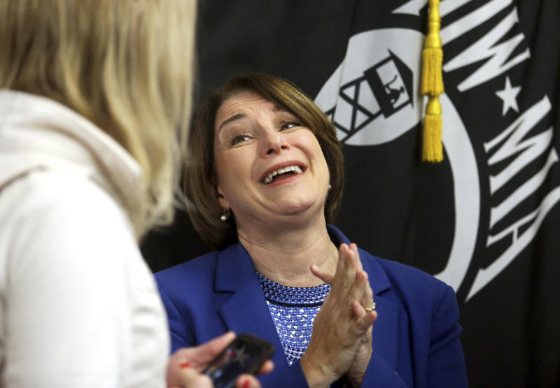 Presidential candidate U.S. Sen. Amy Klobuchar, D-MN., speaks to supporters after her roundtable with veterans at Carnegie-Stout Public Library in Dubuque on Saturday, Oct. 19, 2019.(Eileen Meslar/Telegraph Herald via AP)