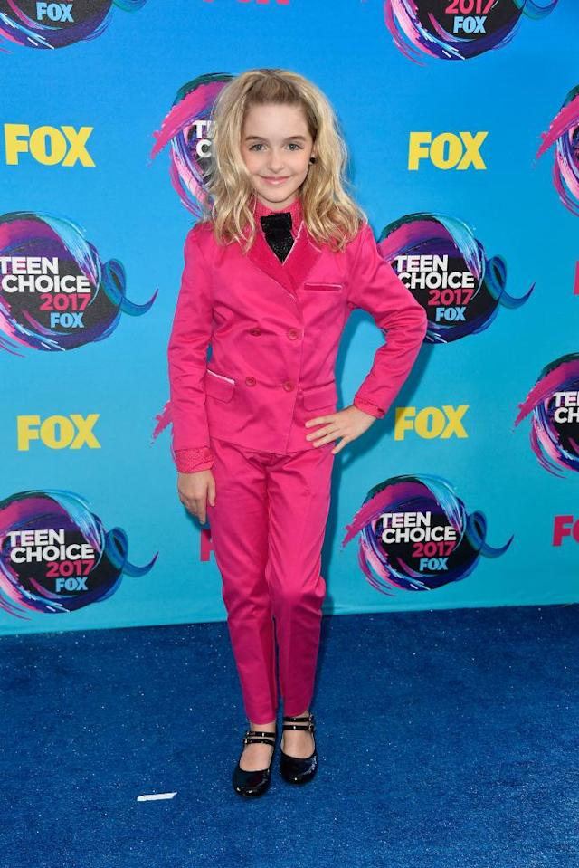 <p>The <i>Once Upon a Time</i> actor kept it cute and simple in a magenta suit, with big blonde waves. (Photo: Getty Images) </p>