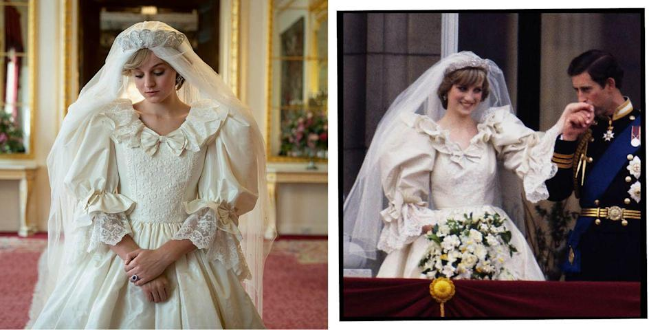 <p>The couple married in July 1981, a few months after they became engaged, at St Paul's Cathedral in London. The iconic puff sleeve 1980s dress Lady Diana Spencer wore was made by British designers David and Elizabeth Emanuel.</p>