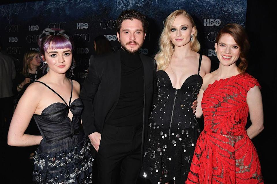 Maisie Williams, Kit Harington, Sophie Turner and Rose Leslie at the final Game of Thrones premiere in New York. | Jeff Kravitz/FilmMagic