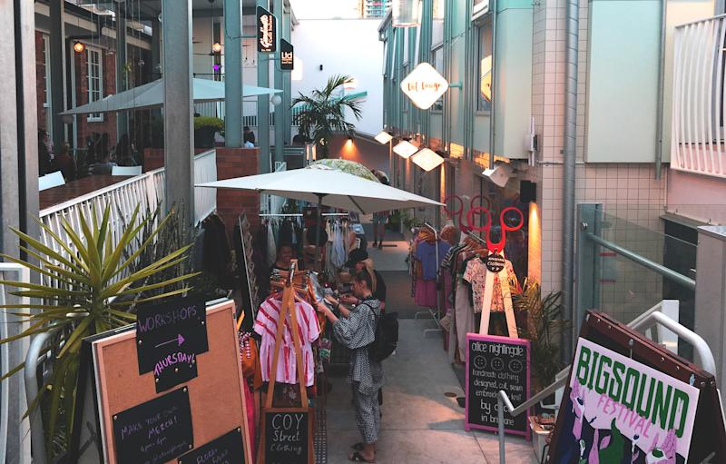 California Lane in fortitude valley is one such hidden gem, with pint-sized shopping and a pop up bar to unwind. Photo: Supplied