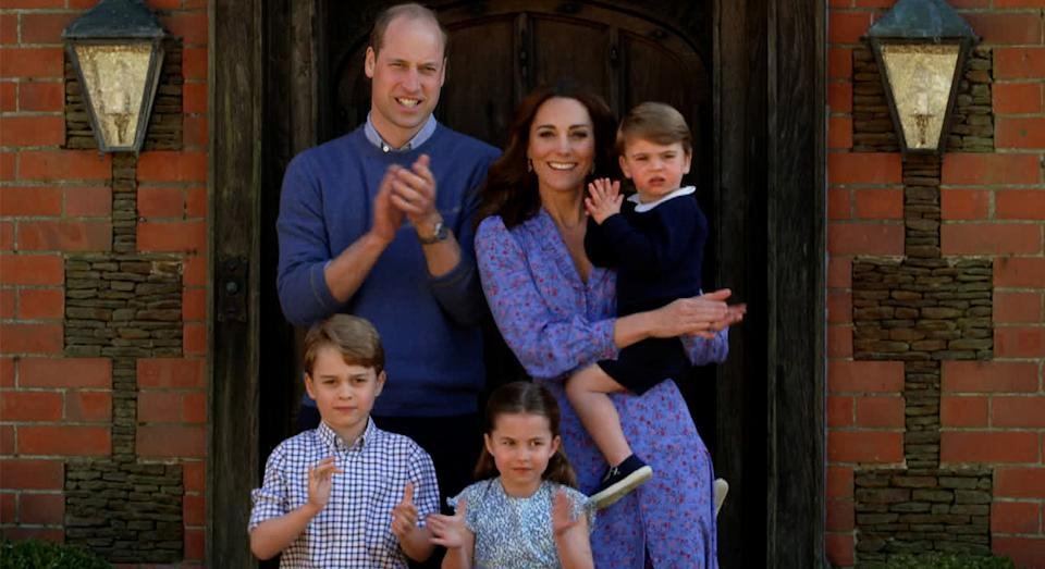 The Cambridges made an appearance on BBC One's 'Big Night In' as they clapped for carers outside their Norfolk home. (Getty Images)