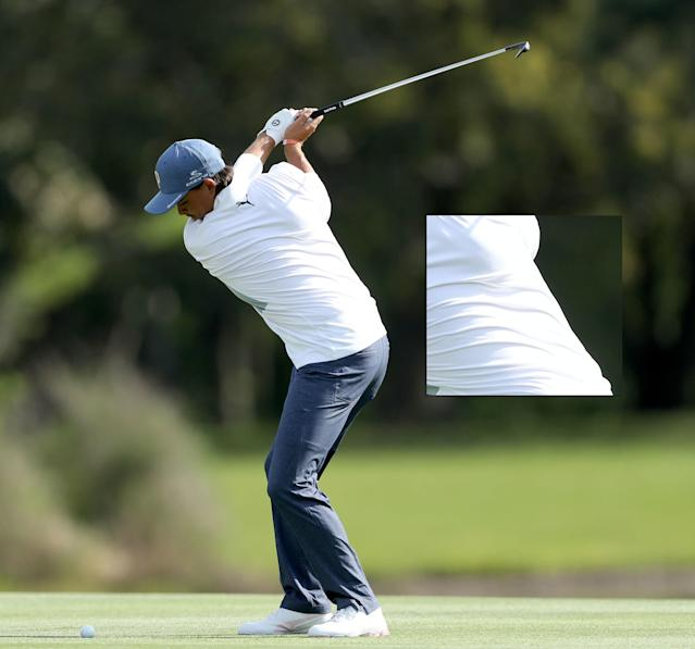 "The top of the backswing pose is an image you see all the time, and your eyes usually go to the hands. But I believe the real action here is around Rickie Fowler's ribcage. You can see how much he's turned his shoulders, what he's really done is turn his ribcage relative to the rest of his core. Rickie's turn is a ""real"" turn, not the ""fake"" one many players achieve just by lifting their arms more."