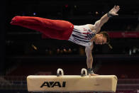 Brody Malone competes on the pommel horse during the men's U.S. Olympic Gymnastics Trials Saturday, June 26, 2021, in St. Louis. (AP Photo/Jeff Roberson)