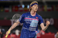 <p>CHOFU, JAPAN - JULY 29: Anders Antonsen of Team Denmark competes against Toby Penty of Team Great Britain during a Men's Singles Round of 16 match on day six of the Tokyo 2020 Olympic Games at Musashino Forest Sport Plaza on July 29, 2021 in Chofu, Tokyo, Japan. (Photo by Lintao Zhang/Getty Images)</p>
