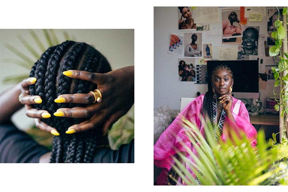 """""""I love getting my hair done at my mom's salon. Here I got my straight back cornrows done by my favorite Aunt at Aminata African Hair Braiding. On the right is my creative corner where I get inspiration and most of my work done. I have my first campaign on my wall to inspire me every day."""""""