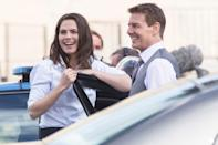 <p>Tom Cruise and Hayley Atwell chat while on set for <em>Mission Impossible 7 </em>in Rome, Italy on Monday. </p>