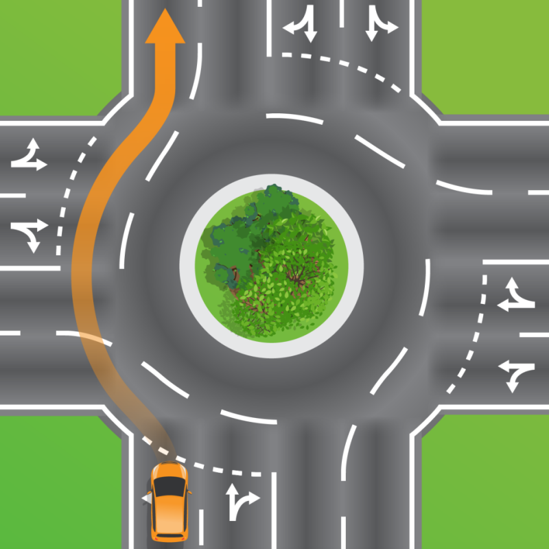Orange car depicted in graphic from Queensland Department of Transport and Main Roads using left lane to travel straight on a roundabout.