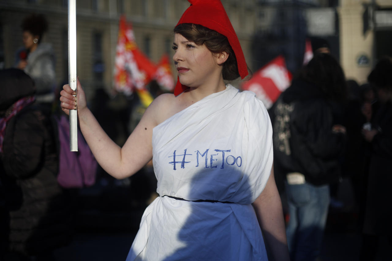 <p>A protester wears a Phrygian cap during a demonstration for the International Day for the Elimination of Violence against Women, in Paris, Saturday, Nov. 25, 2017. (Photo: Thibault Camus/AP) </p>