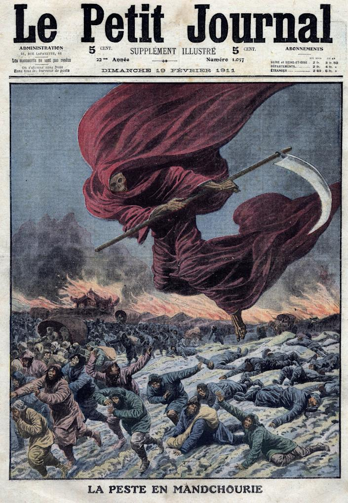 An illustration of the Reaper (allegory of death) above Manchuria, which was published in Le Petit Journal, in France, in 1911. (Photo: Leemage via Getty Images)