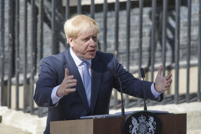 April 12th 2020 - Boris Johnson has been released from the hospital after being treated for symptoms of the coronavirus. - April 5th 2020 - Boris Johnson has been admitted to the hospital after displaying symptoms of the coronavirus. - March 27th 2020 - Boris Johnson - Prime Minister of The United Kingdom - has tested positive for the coronavirus. - File Photo by: zz/KGC-247/STAR MAX/IPx 2019 7/24/19 Boris Johnson delivers his first speech as Prime Minister of The United Kingdom outside Number 10 Downing Street. (London, England, UK)