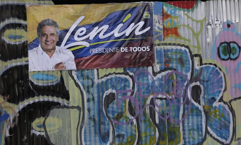 A poster of government presidential candidate Lenin Moreno displayed near a campaign rally ahead of Sunday's presidential runoff election in Quito, Ecuador