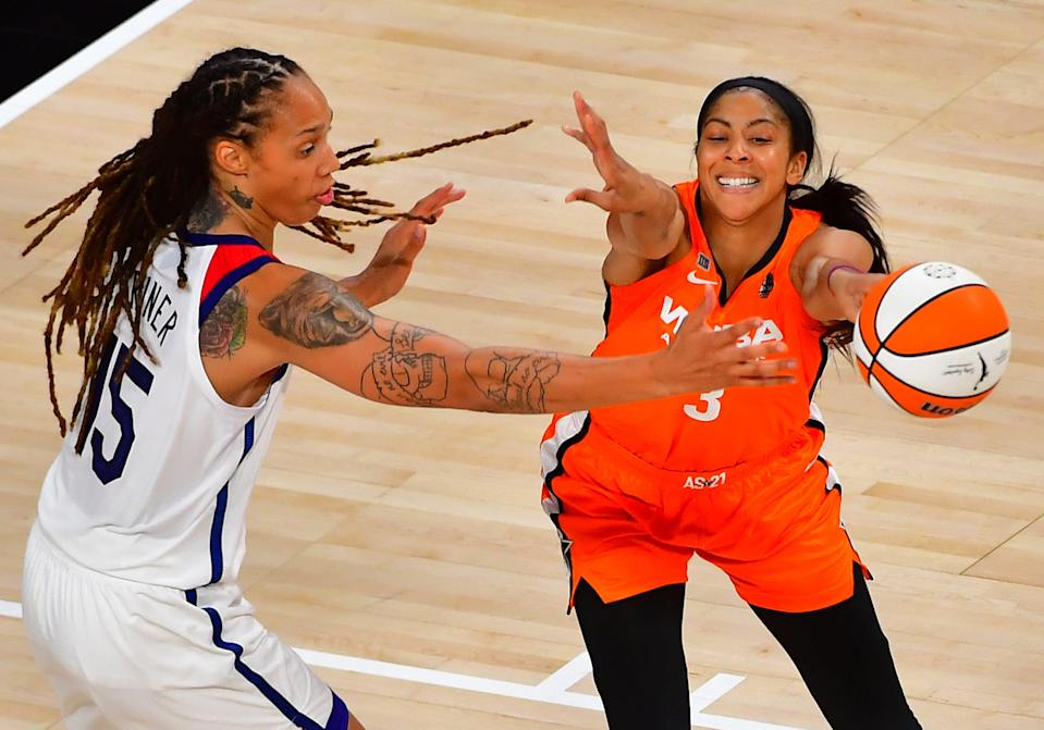 Brittney Griner and Candace Parker in the 2021 WNBA All-Star Game.
