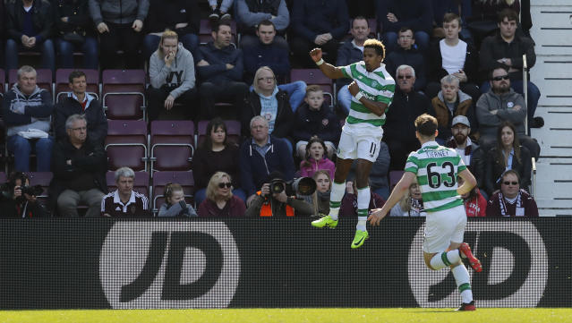 Britain Football Soccer - Heart of Midlothian v Celtic - Scottish Premiership - Tynecastle - 2/4/17 Celtic's Scott Sinclair celebrates scoring their first goal Reuters / Russell Cheyne Livepic
