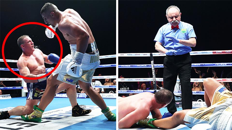 Justis Huni knocking down Paul Gallen (pictured left) and the referee (pictured right) waving off Gallen's tackle.