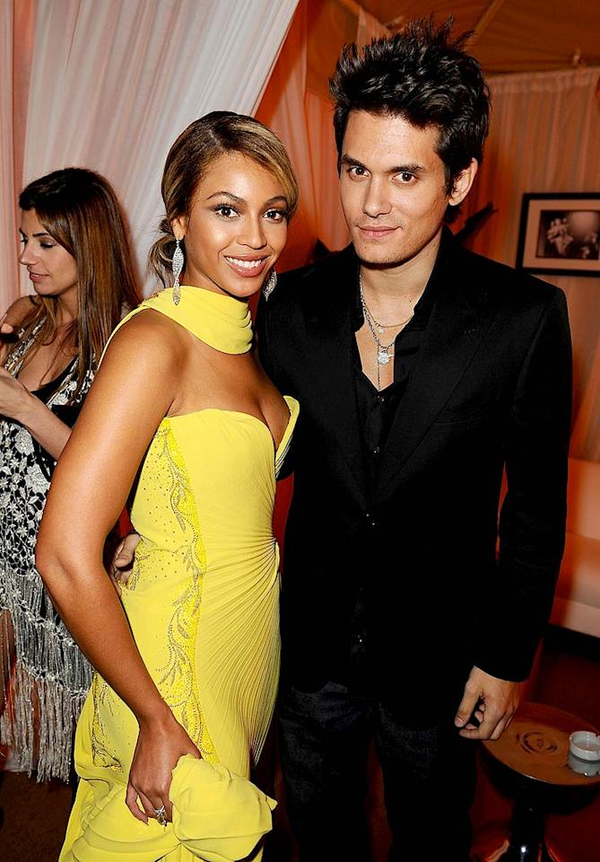 "Beyonce Knowles and John Mayer managed yet another smile, despite having their photo taken dozens of times over the course of the evening. Michael Caulfield/<a href=""http://www.wireimage.com"" target=""new"">WireImage.com</a> - February 10, 2008"
