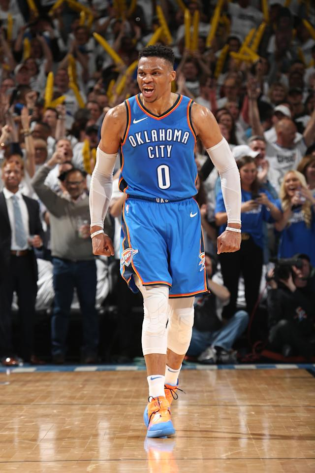 OKLAHOMA CITY, OK - APRIL 25: Russell Westbrook #0 of the Oklahoma City Thunder reacts during the game against the Utah Jazz in Game Five of Round One of the 2018 NBA Playoffs on April 25, 2018 at Chesapeake Energy Arena in Oklahoma City, Oklahoma. (Photo by Layne Murdoch/NBAE via Getty Images)
