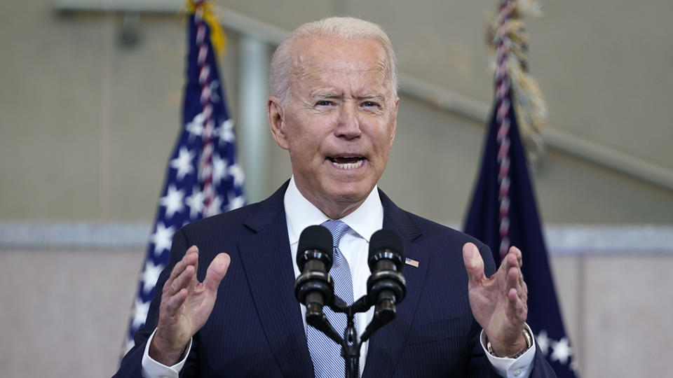 President Joe Biden delivers a speech on voting rights at the National Constitution Center, Tuesday, July 13, 2021, in Philadelphia. (Evan Vucci/AP)