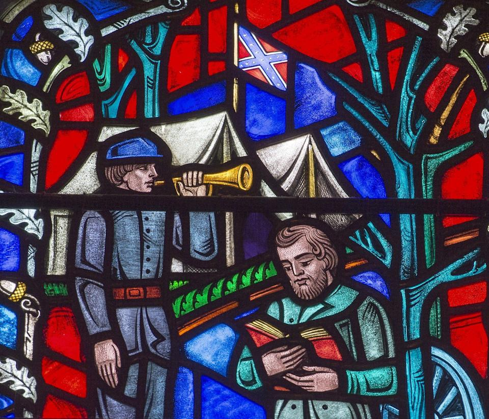 Astained glass window at the Washington National Cathedral in Washington, D.C., depicting the life of Confederate Gen. Stonewall Jackson. This window, as well as another depicting Gen. Robert E. Lee, will be taken down. (Photo: PAUL J. RICHARDS via Getty Images)