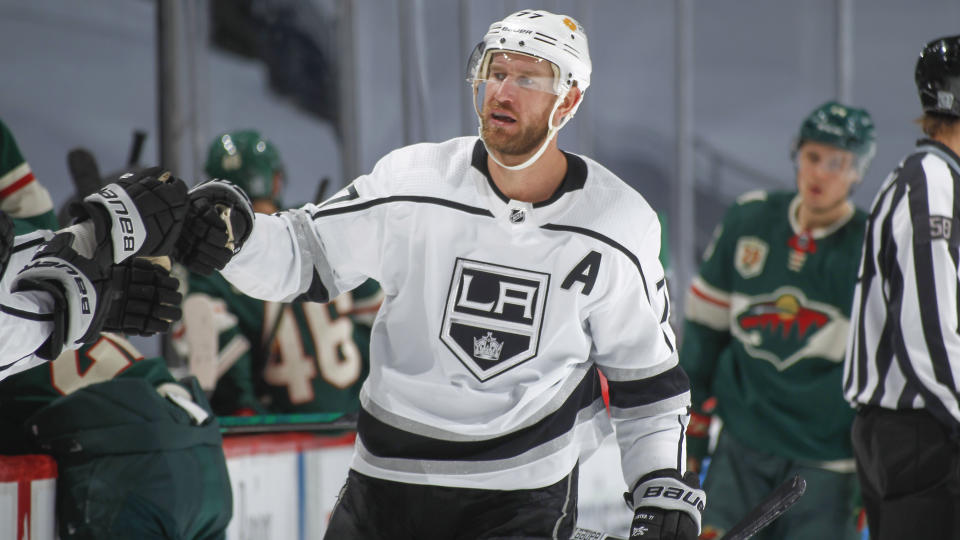 SAINT PAUL, MN - FEBRUARY 26: Jeff Carter #77 of the Los Angeles Kings celebrates after scoring a goal against the Minnesota Wild during the game at the Xcel Energy Center on February 26, 2021 in Saint Paul, Minnesota. (Photo by Bruce Kluckhohn/NHLI via Getty Images)