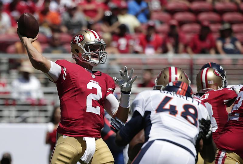 San Francisco 49ers quarterback Blaine Gabbert (2) passes against the Denver Broncos during the first half of an NFL preseason football game in Santa Clara, Calif., Sunday, Aug. 17, 2014