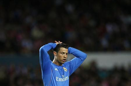 Real Madrid's Cristiano Ronaldo reacts during their Spanish First Division soccer match against Sevilla in Seville