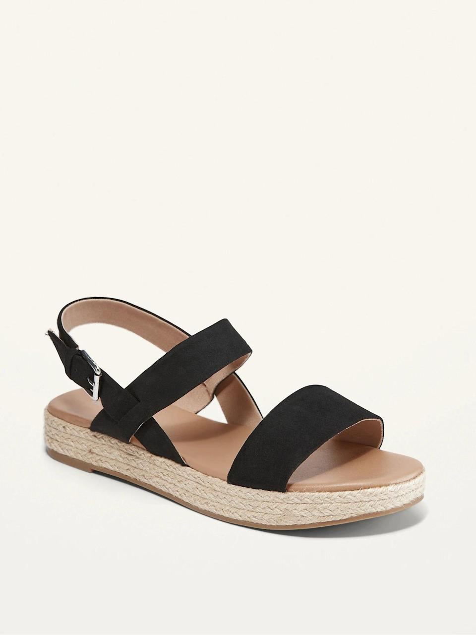 <p>You can never go wrong with a dependable pair of espadrilles for the summer and these <span>Faux-Suede Espadrille Flatform Sandals</span> ($35) are must. It also comes in a tan suede.</p>