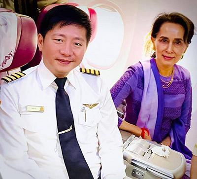 Myanmar National Airlines Chief Pilot Aung Po in an undated photo when he met Aung San Syu Kyi.