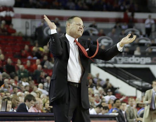 Georgia head coach Mark Fox reacts in the first half of an NCAA college basketball game against Florida, Wednesday, Jan. 23, 2013, in Athens, Ga. (AP Photo/John Bazemore)
