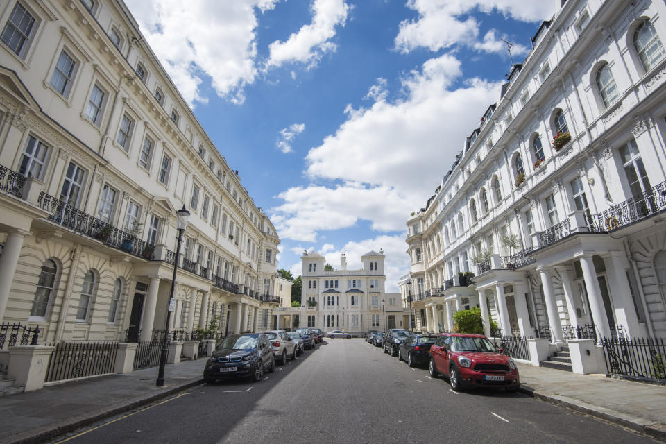 A row of houses in Stanley Gardens, in Notting Hill, London, where a house is currently for sale for over �11 million. The borough of Kensington and Chelsea is one of the most polarised in Great Britain, with some of the most expensive real estate in the UK just a short walk from several of the most deprived wards in the country - including the area around the Grenfell Tower. Picture date: Wednesday July 12th, 2017. Photo credit should read: Matt Crossick/ EMPICS Entertainment.