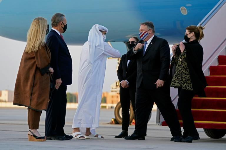 US Secretary of State Mike Pompeo and his wife Susan arrive in Abu Dhabi on a trip that will take him to see Taliban representatives in Qatar