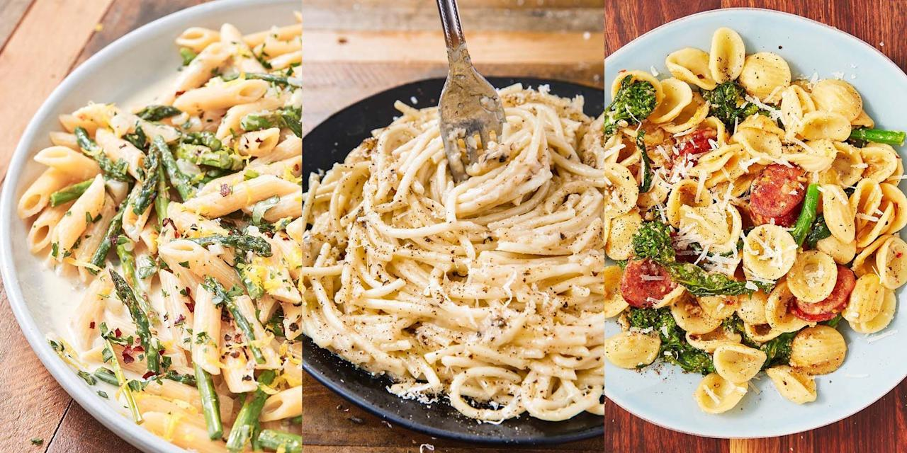 """<p><a href=""""https://www.delish.com/uk/pasta-recipes/"""" target=""""_blank"""">Pasta</a> is the kind of thing pretty much anyone can make, even if you're not fond of <a href=""""https://www.delish.com/uk/cooking/"""" target=""""_blank"""">cooking</a>. It's so easy to prepare, and there's very little that can go wrong (besides serving uncooked pasta obvs). It comes together in no time at all, and can basically be paired with anything from <a href=""""https://www.delish.com/uk/cooking/recipes/g32300656/chicken-pasta-recipe/"""" target=""""_blank"""">chicken</a>, to <a href=""""https://www.delish.com/uk/cooking/recipes/g32670587/tomato-pasta-recipes/"""" target=""""_blank"""">tomatoes</a>, to <a href=""""https://www.delish.com/uk/cooking/recipes/a30271400/pesto-pasta/"""" target=""""_blank"""">avocados</a>. You really can't beat it. So, if you're after a delicious and super easy pasta recipe, you've come to the right place. </p>"""