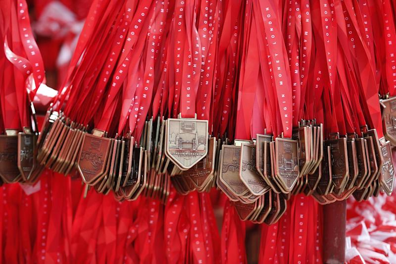 The 2017 London Marathon medals before being given out to runners: REUTERS