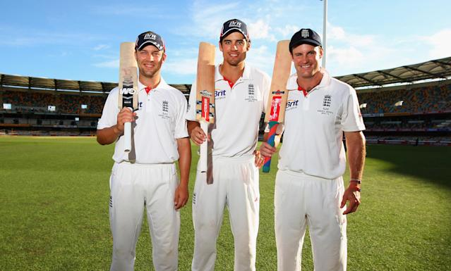 <p>England faced defeat in the first Ashes Test at Brisbane, but it ended in a draw thanks to Cook (235*), Strauss (110) and Trott (135*) as England amassed a massive 517-1 in their second innings (Getty Images) </p>