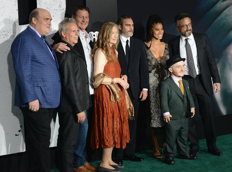 "HOLLYWOOD, CA - SEPTEMBER 28: Glenn Fleshler, Josh Pais, Brett Cullen, Frances Conroy, Joaquin Phoenix, Zazie Beetz, Leigh Gill and Marc Maron arrive for the Premiere Of Warner Bros Pictures ""Joker"" held at TCL Chinese Theatre IMAX on September 28, 2019 in Hollywood, California. (Photo by Albert L. Ortega/Getty Images)"