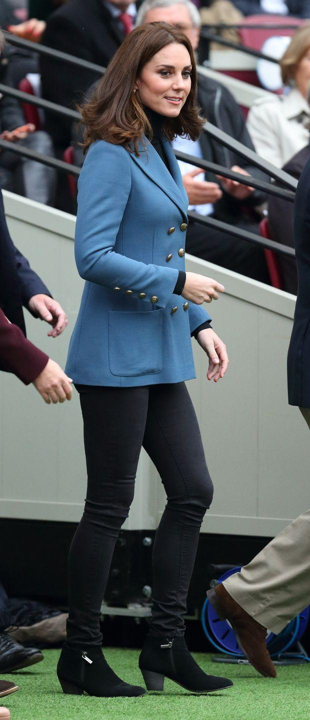 <p>It wasn't until Kate Middleton's third pregnancy that she began playing with drastically new styles — like pants. Early on in her pregnancy with Prince Louis, the Duchess wore a black turtleneck, powder blue military blazer and black skinny jeans to an event with Prince Harry and Prince William. </p>