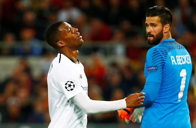 <p>Soccer Football – Champions League Semi Final Second Leg – AS Roma v Liverpool – Stadio Olimpico, Rome, Italy – May 2, 2018 Liverpool's Georginio Wijnaldum reacts as Roma's Alisson Becker REUTERS/Tony Gentile </p>