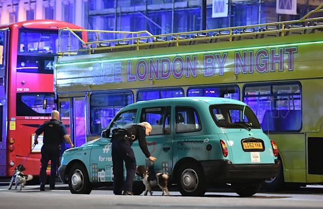 "<p>Police sniffer dogs on London Bridge as police are dealing with a ""major incident"" at London Bridge. (Dominic Lipinski/PA Images via Getty Images) </p>"
