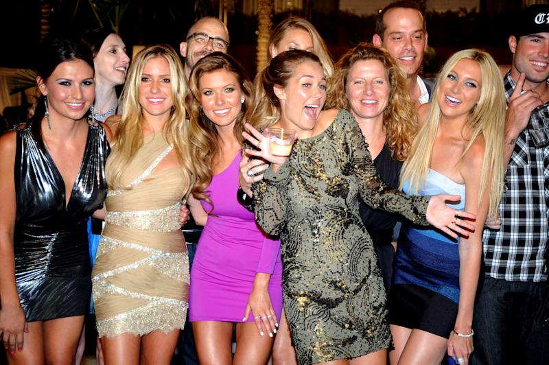 From left: cast members Stacie Hall, Kristin Cavallari, Audrina Partridge, Lauren Conrad, and Stephanie Pratt celebrate the end of MTV's